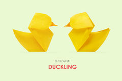 Origami yellow ducklings Royalty Free Stock Images