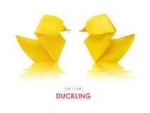 Origami yellow ducklings Royalty Free Stock Image