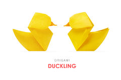 Origami yellow ducklings Stock Image