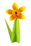 Origami yellow flower. Of paper on a white background royalty free stock photo
