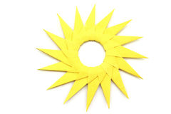 Origami  yellow paper sun Stock Photography