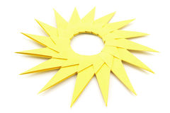 Origami  yellow paper sun Royalty Free Stock Images