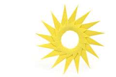 Origami  yellow paper sun Royalty Free Stock Photos