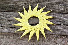 Origami yellow paper sun Royalty Free Stock Image