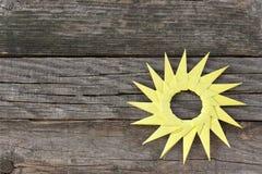 Origami yellow paper sun Stock Image