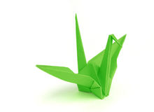 Origami zielony ptak Fotografia Stock