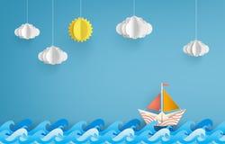 Origami zrobił kolorowej papierowej żeglowanie łodzi royalty ilustracja