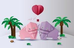 Origami zrobił słonia w dżungli, papierowa sztuka royalty ilustracja