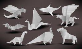 Origami zwierzęta (czerń & biel) Zdjęcia Royalty Free