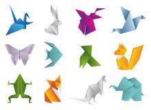Origami zwierzęta ustawiający Geometryczne wielobok kreskówki ilustracji