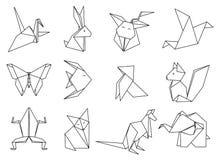 Origami zwierzęta ustawiający Geometryczne wielobok kreskówki książkowa kolorowa kolorystyki grafiki ilustracja ilustracja wektor