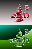 Origamibakgrund för glad jul 2017 Arkivbilder