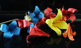 Origamiblommor royaltyfri fotografi