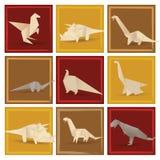 Origamidinosaurier (sepiasignalen) Arkivfoto