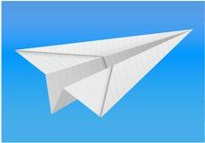Origamidocument vliegtuig op witte achtergrond Royalty-vrije Stock Fotografie