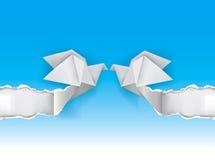 Origamiduvor som gifta sig inbjudan Royaltyfri Foto