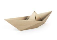 Origamifartyget ut återanvänder papper på vit bakgrund stock illustrationer