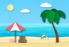 Origamihavsstrand Abstrakt landskap för sommarsemester med sand, havvågor och solen Sommartid kopplar av konst för papper 3d royaltyfri illustrationer