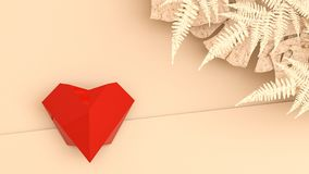 Origamihjärta återanvänder på pappers- bakgrund och tropiska sidor red steg Royaltyfri Foto