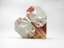 Origamihjärta av femtusen rubel Fotografering för Bildbyråer