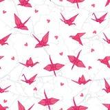 Origamikräne in der Liebe auf dem nahtlosen Vektor der Niederlassungen drucken vektor abbildung