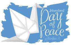 Origamikran över blåttborsteslaglängden för dag av fred, vektorillustration Royaltyfri Illustrationer