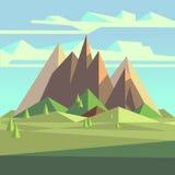 Origamin landskap i lågt poly stil 3d med berg, träd och himmel Royaltyfria Foton