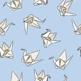 Origamin skyler över brister den utdragna sömlösa modellen för svanhanden i pastellfärgade färger royaltyfri illustrationer
