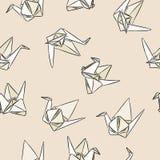Origamin skyler över brister den utdragna sömlösa modellen för swandhanden i pastellfärgade färger vektor illustrationer