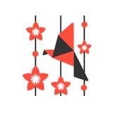 Origamin skyler över brister fågeln på abstrakt bakgrund Royaltyfria Bilder