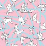Origamin skyler över brister fåglar royaltyfri illustrationer