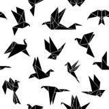 Origamin skyler över brister fåglar stock illustrationer