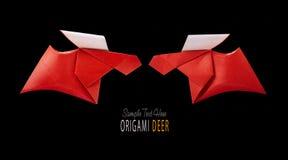 Origamin skyler över brister par för röda hjortar vektor illustrationer