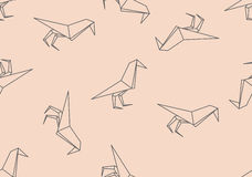 Origamin svärtar den sömlösa modellen för fågeln stock illustrationer