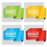 Origamipapierfahnen für Seitentag Preisschablone für Katalog Farbaufkleber für Shop Vektor lizenzfreie abbildung