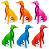 Origamipapierhundesatz Stockbilder