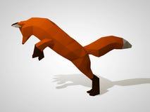 Origamiräv på hans bakre ben Polygonal rävbanhoppning Röd räv för geometrisk stil, sidosikt Jaga räven illustration 3d Royaltyfria Foton