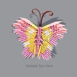 Origamirosa färgfjäril Royaltyfria Foton