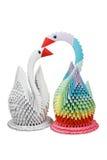 Origamis del bloque. Cisnes de papel. Imagenes de archivo