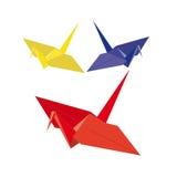 Origamis. tre fåglar från pappers-. Vektorillustration Royaltyfri Illustrationer