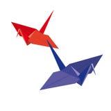 Origamis. två fåglar från papper Royaltyfri Illustrationer