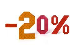 Origamitext av rabattförsäljningen 20 procent Royaltyfri Fotografi