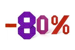 Origamitext des Rabattverkaufs 80 Prozent Stockbild