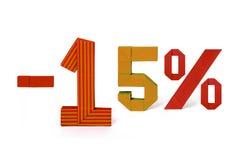 Origamitext des Rabattverkaufs 15 Prozent Stockbild