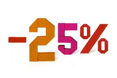 Origamitext des Rabattverkaufs 25 Prozent Stockfoto