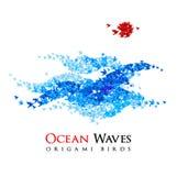 Origamivågor som formas från flyg, skyler över brister fåglar - vektor stock illustrationer
