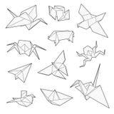 Origamivektoruppsättning, kran, fågel, fartyg, pappersnivå Arkivbild