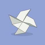 Origamivoorwerp Wit gevouwen document vuurrad op violette achtergrond stock illustratie