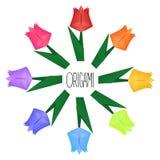 Origamy bokomslag med pappers- tulpan royaltyfri bild