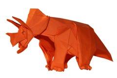 Origamy Dinosaur Triceratops Isolated On White Stock Image